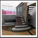 escalier extérieur design - mélange résine et bois résiné acajou